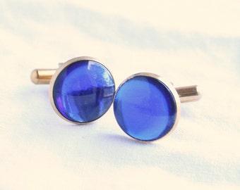 Cobalt Blue Cuff Links Bright Blue Vintage Domed Glass Cufflinks Mad Men Hipster