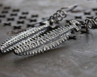 Silver Carved Texture Earrings