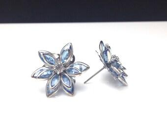 Light Blue Lotus Flower Rhinestone Crystal Earring Vintage Inspired with Titanium Nickel Free Hypoallergenic Posts