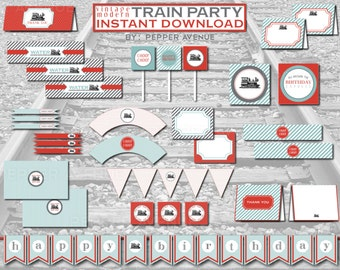 Vintage Modern Train Birthday Party Package - INSTANT DOWNLOAD - Printable PDF Files