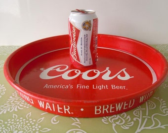 Vintage Coors Beer Alcohol Serving Tray 1980s Man Cave Room Den Bar Decor