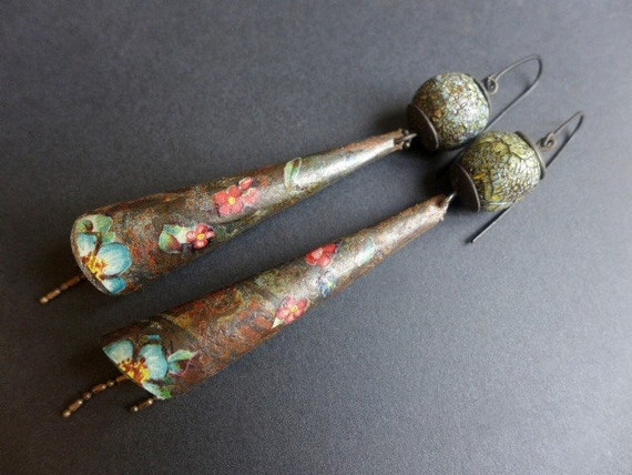 Suton. Long rustic salvaged tin earrings with crackle art beads.