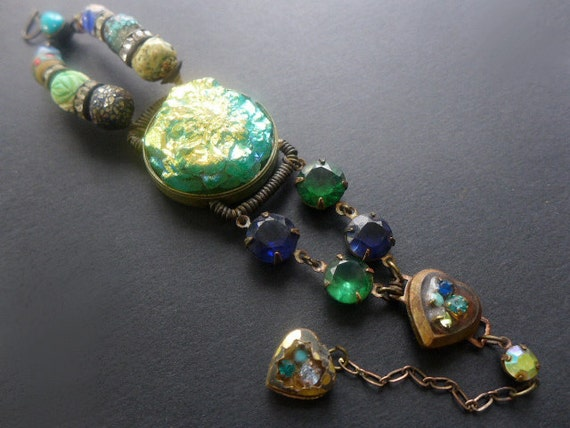 Superluminal. Rustic cosmic iridescent assemblage bracelet.