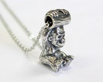 Gorilla Necklace Baby Gorilla Pendant Necklace Silver Gorilla Necklace Charm 444