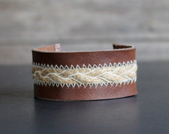 Cuff Bracelet - Handmade - Leather and Braided Jute with Copper and Brass - Vine and Leaf Motif Weaving - Country Western - Southwestern