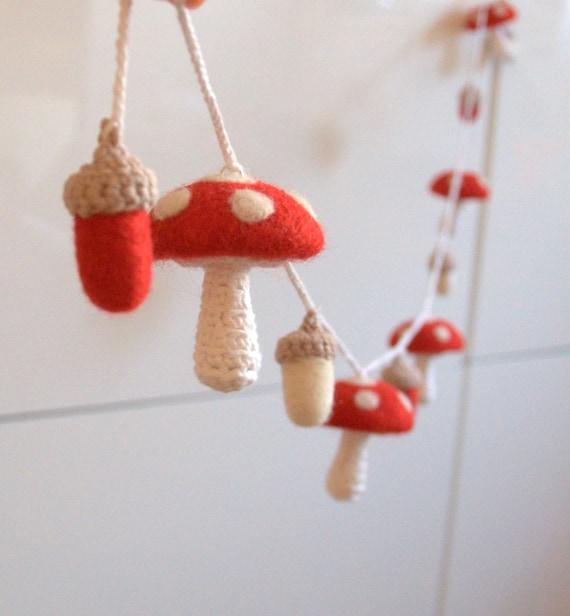 Mushroom acorn ornaments garland felt wool toadstool Alice in wonderland red white woodland nursery baby shower gift