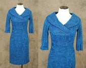 vintage 50s Cocktail Dress - Hourglass Blue Paisley Shawl Collar Dress - 1950s Wool Wiggle Dress Sz S