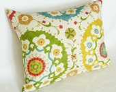 Colorful Suzani Pillows, 14x18 Lumbar Pillow Covers, Large Medallions, Accent Cushion, Cream Green Red Yellow Turquoise, Eclectic Decor