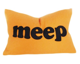 ORANGE MEEP Pillow, Fun Decorative Pillow Covers, Kids Orange Pillow, Childs Cushion Cover, Childrens Pillows, 16x16