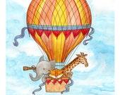 Wall Art. Hot Air Balloon Animals. 8 x 10 matted print of a watercolor. Kid's room decor. Elephant. Giraffe. Tiger.