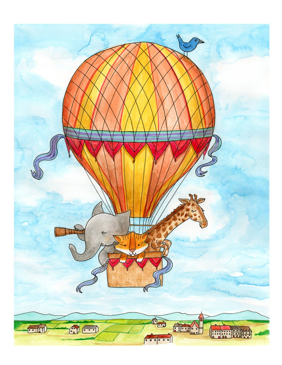 Wall Art Hot Air Balloon Animals 8 X 10 Matted Print By