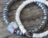 Raw Tourmaline Diamond Bracelet with Diamond Labradorite Beadwork, Pave in Sterling Beaded Bracelet, Storm Grey Purple, White, Blue, Pink