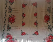 Adorable Nostalgic Vintage 50s Candles And Poinsettias Christmas Holiday Tablecloth PLUS SIX  Napkins I just Found!!