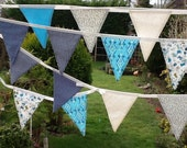 Extra Long Blue Bunting with 30 flags - Something Blue 22ft Long, weddings, parties, decoration