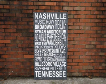 Custom Subway Art Sign, Typography word sign personalized with your favorite places, Nashville Tennessee Subway Art Sign