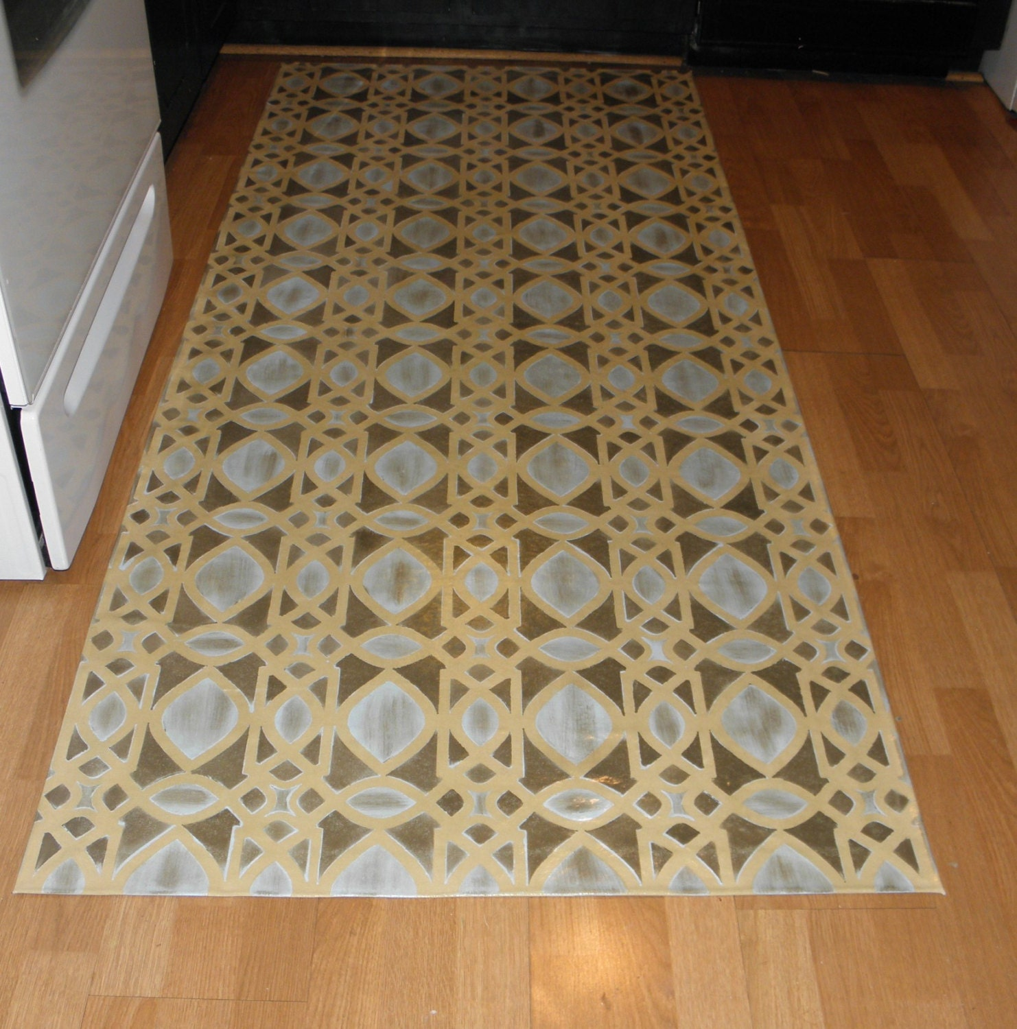 Canvas Floorcloth Rug Filigree Pattern Hand Painted By