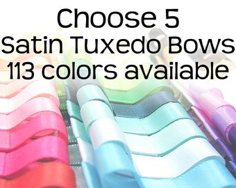 Choose 5 Satin Tuxedo Bows, No Slip Alligator Clips, Satin Hair Clips, Baby, Toddler Tuxedo Clippies, Girls Bow Barrettes, Women, 113 Colors