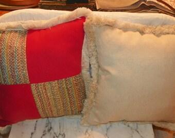 Pair of Persimmon Beige Stripe Patchwork Print Throw Pillows