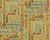 Green Multi Words from Why fabric line by Leanne Anderson for Henry Glass and Company.  Quality cotton quilting fabric.