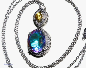 Genuine mercury mystic topaz necklace sterling with platinum bond 5 cts shipping included for Canada and U.S.A