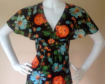 Vintage 1970's Black Floral Angel Wing Baby Doll Blouse