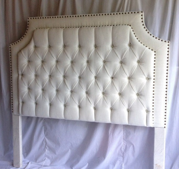 White Tufted Upholstered Headboard With Natural Nailheads