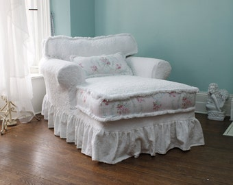 Shabby chic slipcovered ruffle chaise lounge white roses vintage chenille bedspread custom order
