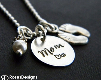 Sterling Mom Necklace, Handstamped Necklace, Baby Feet, Foot Prints Necklace, Personalized Jewelry, by RosesDesigns