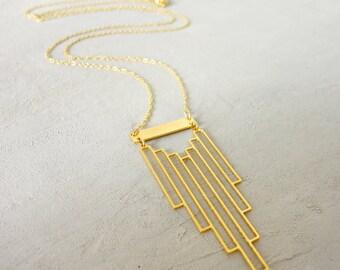 Empire Necklace, Geometric necklace, Art Deco Jewelry, signature necklace, Architectural jewelry,