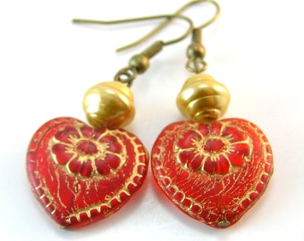 Red Heart Earrings, Valentines Day Gift