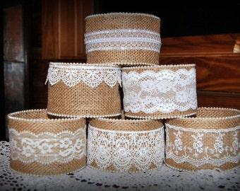 Sale 10 Mason Jar Sleeves Burlap Lace Decorations Wraps Shabby Rustic Wedding Party Shower