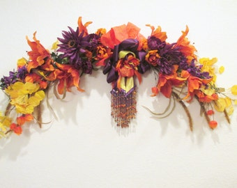 Autumn Fall Beaded Victorian Wall Swag in Orange Tiger Lilies, Yellow Aspen Leaves, Purple Dahlias