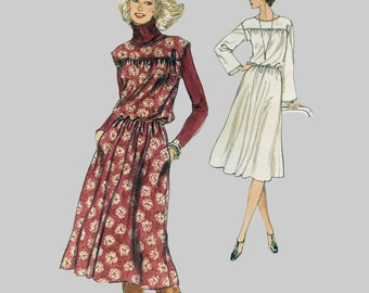 1970s Vintage Blouson Dress Pattern Very Easy Vogue 9870 Cap sleeve or long sleeve Loose fitting jumper Yoke Size 12 Bust 34 Size 16 Bust 38