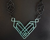 Geometric Necklace - Copper - Prairie School Revival Necklace with Patina Center - Inspired by Architectural Half Timbering and Iron Gates