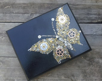 Upcycled Cigar Box - Steampunk Butterfly