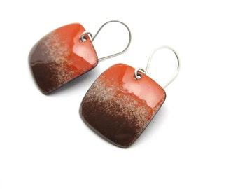 Brown and Orange Earrings - Enamel Earrings - Orange Dangle Earrings - Brown Enamel - Orange Enamel - Modern Enamel Jewelry