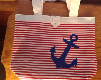 Nautical Tote with Appliqued Anchor