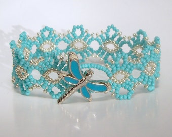 Beaded Lace Bracelet - Turquoise and Silver with Dragonfly