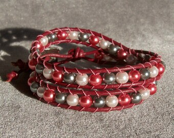 Wrap Bracelet - Pink and Silver Glass Pearl