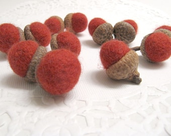 Dozen Burnt Orange / Rust Wool Acorn Thanksgiving Decorations Handmade from Felted Wool Sweaters and Real Caps