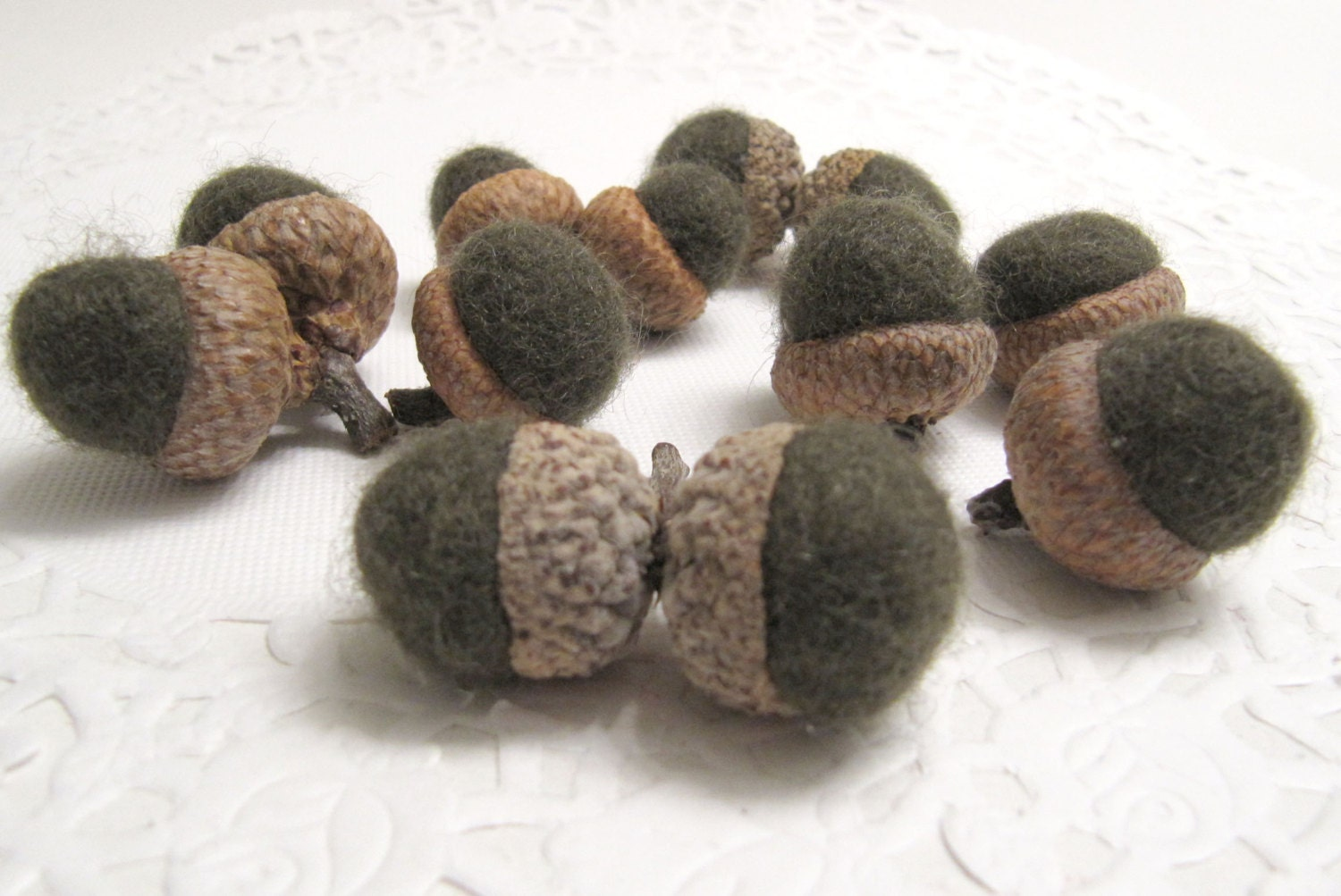 Twelve dark green wool acorn fall decorations by mmwolters for Acorn decoration