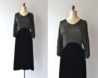Glitterati silk beaded dress | 1920s dress • silk and velvet 20s dress