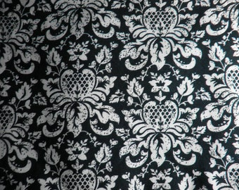 Taupe and Black Damask Gothic Print Cotton Fabric - Just under 1 yard