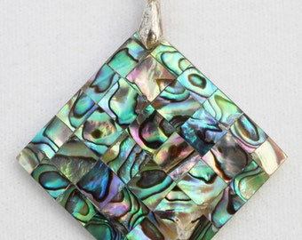 Polished Abalone Shell Mosaic Diamond-Shaped Pendant