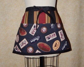 Motorcycle Half Apron All cotton Indian Motorcycle 1901 3 pockets vintage look print