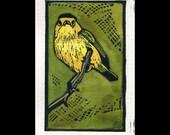 Wilson's Warbler hand painted linocut