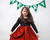 Girls Christmas Party Dress- Organic Stretch Velours and Red SILK Full Gathered Skirt- Ballerina Dress (Ready to Ship Size 4T)