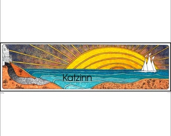 Sailing - Matted giclee print - 8x16 - Hand Signed - 2003 - Pen and Ink