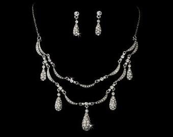1920s/30s style crystal wedding jewellery set bridal wedding jewellery necklace earrings vintage style bridal necklace Art Deco wedding