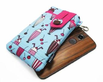 Fabric iPhone 6, 6s, 6 plus Pouch, Phone case for Moto x, Galaxy s6, HTC One m9, LG 4g, Nexus 6 - Ice Cream Sodas on Light Blue, Sweet Treat